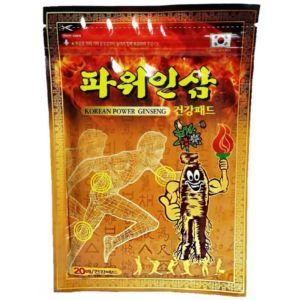 Согревающий пластырь для суставов Korean Power Ginseng с женьшенем Южная Корея (20 шт)